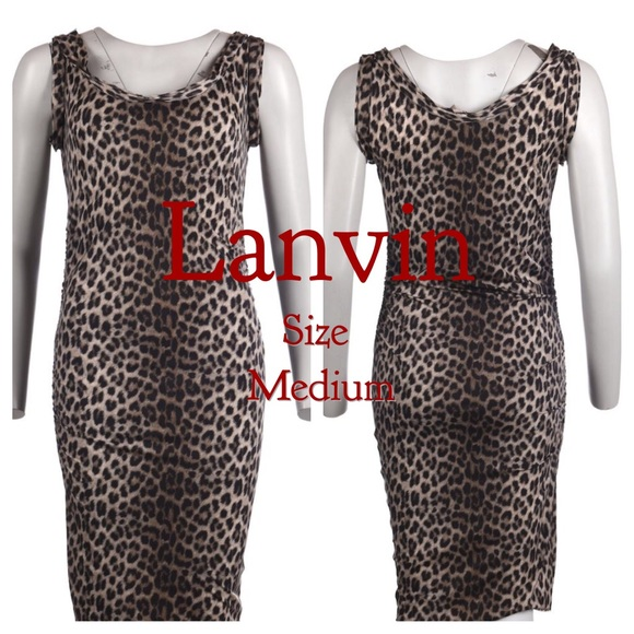 Lanvin Dresses & Skirts - LANVIN swim style leopard dress rouched at hips